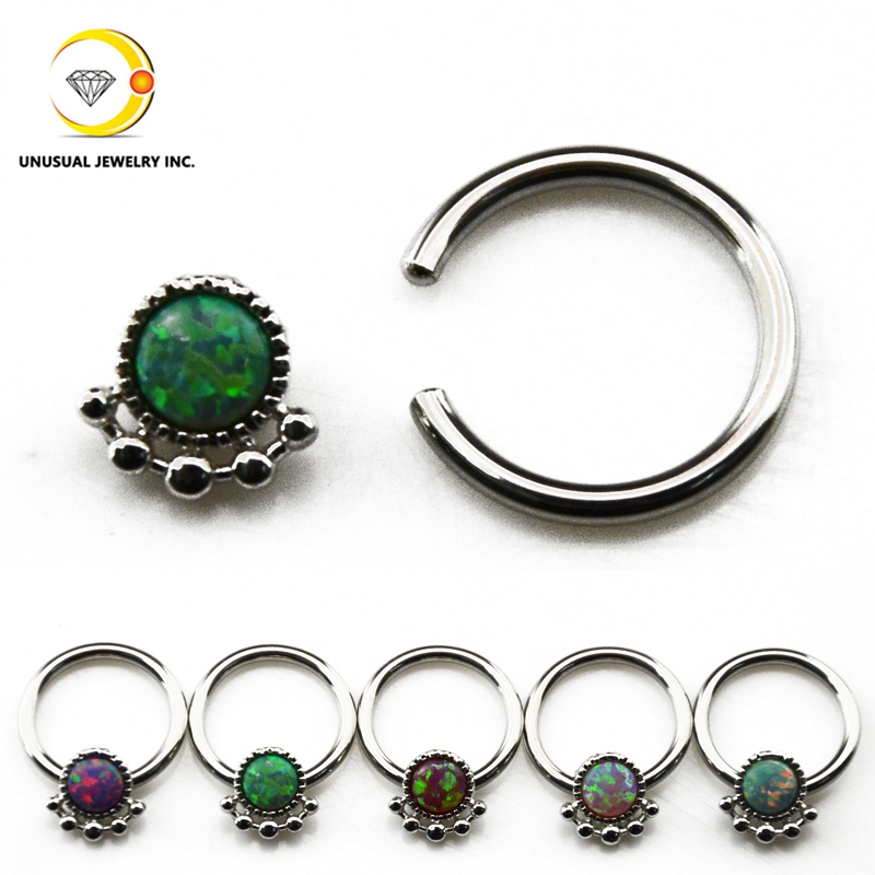 opal nose ring septum clicker earring captive bead ring