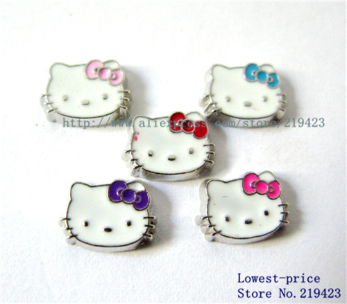 20PCS Mix-color Hello kitty floating locket charm DIY Accessory Fit for Locket Free shipping !FC225(China (Mainland))