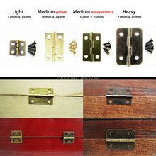 12X Antique Brass Vintage Jewelry Gift Wine Wood Wooden Box Hinge With Screws Light 13x12mm/ Medium Li16x24mm/ Heavy 21X30mm(China (Mainland))