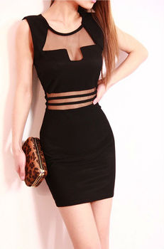 Summer Party Dresses Sheath Mini O-Neck Tank Solid Sequined Slim Hip Black Sexy Bandage Dress For Women Clothing