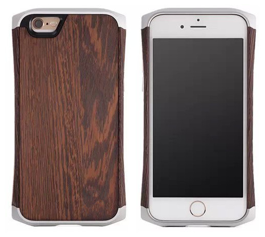 For IPhone 6 plus ronin IPhone 6 hybrid Metal frame + bamboo / Wood back cover case with leather sleeve bag with original logo(China (Mainland))