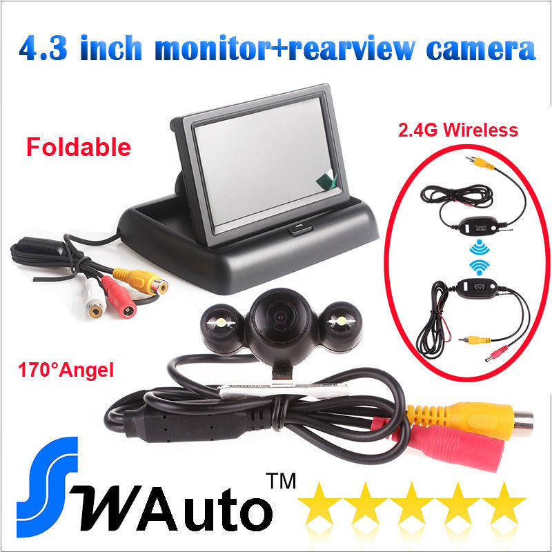 Auto Parking set 2.4G wireless rear view camera 170 degree lens HD camera+ 4.3 Inch TFT LCD Mini Car Dashboard Rearview Monitor(China (Mainland))