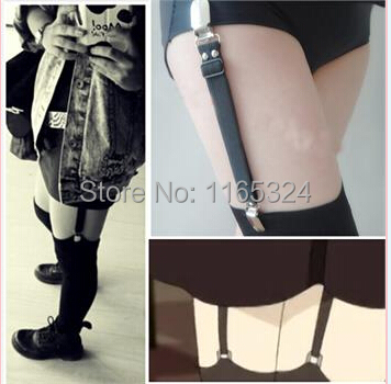 2PC/lot Free shipping New Designed Sexy Punk Goth Pub Club Clip Leg Garter Belts for Stockings Socks for women