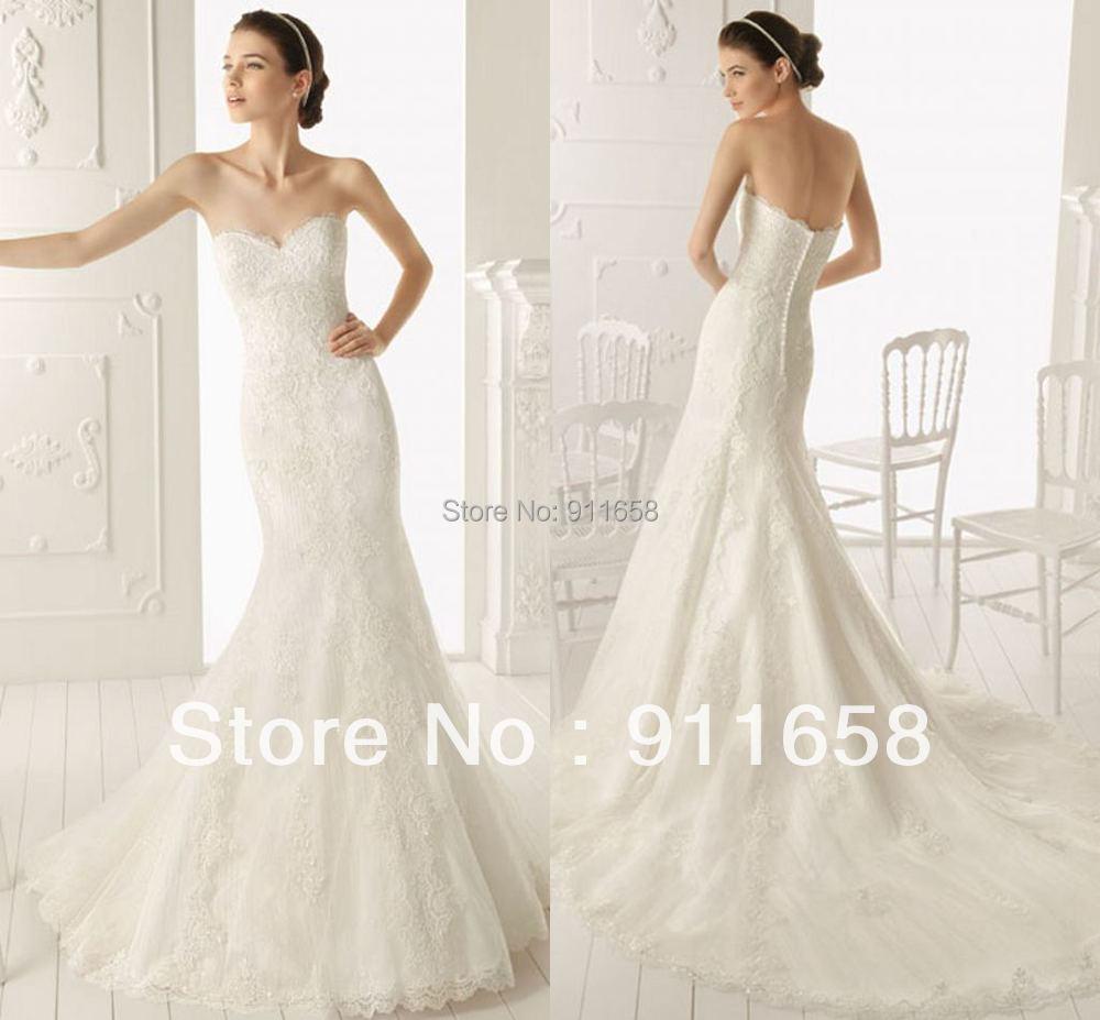 Sweetheart mermaid court train lace wedding dress with for Mermaid wedding dress with detachable train