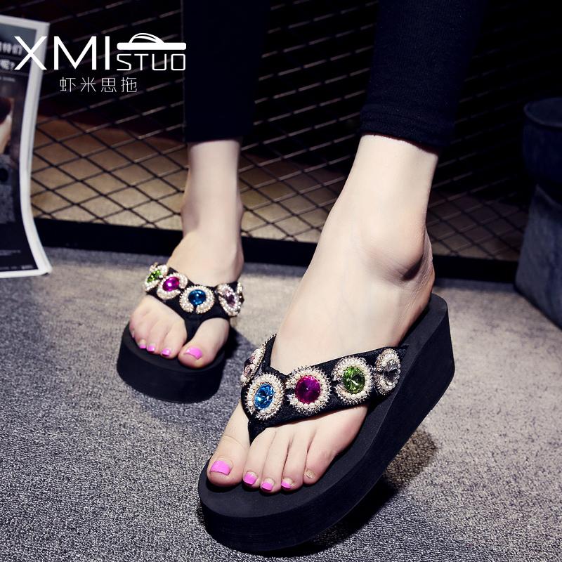 Women Beach sandals Summer Crystal Shoes Woman Flip Flops Wedge Slippers Shoes High Heels Platform Sandals Sapatos Femininos<br><br>Aliexpress