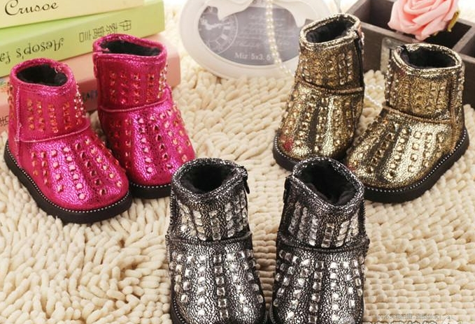 2014 children boots bling rhinestone kids boots boys girls thermal baby snow boots(China (Mainland))