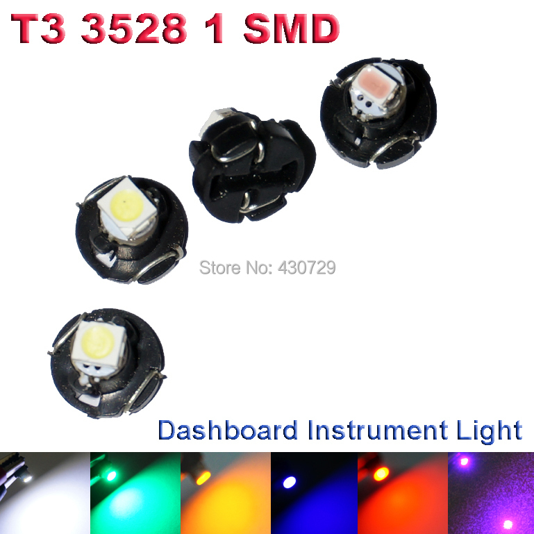 10X T3 LED 3528 1210 SMD Car Gauges Lights Auto Dashboard Instrument Light Dash Lamp Cluster Bulbs for Car DC12V 6Colors(China (Mainland))