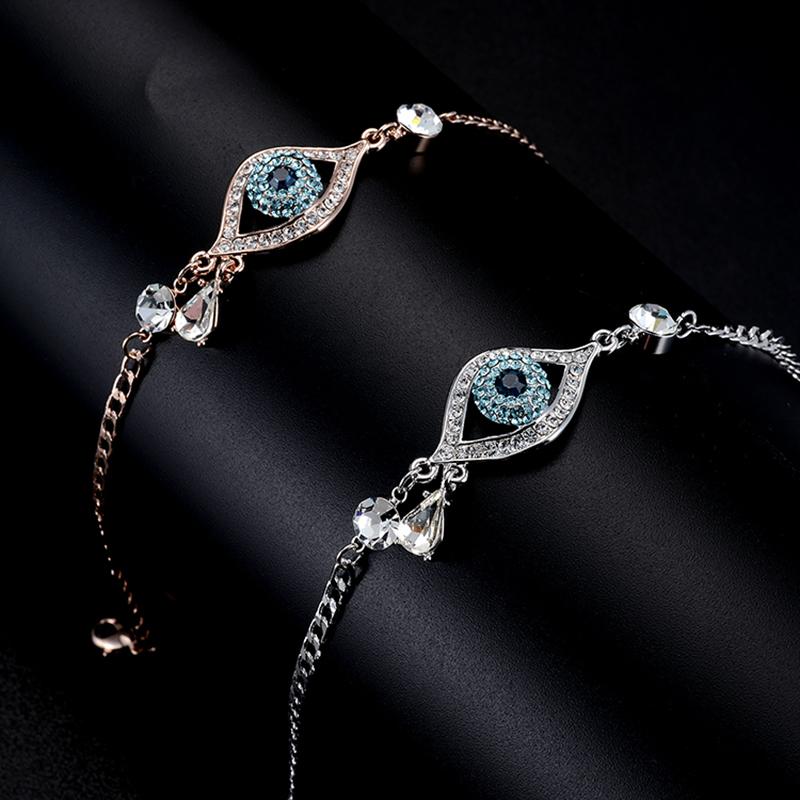KARASU 2016 New Evil Eye Multi-color Austrian Rhinestone Bracelets Women Rose Gold Plated Water Drop Pulseira Jewelry Bijoux(China (Mainland))