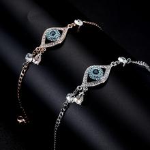 KARASU 2016 New Evil Eye Multi-color Austrian Rhinestone Bracelets Women Rose Gold Plated Water Drop Pulseira Jewelry Bijoux