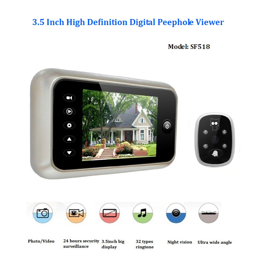 3.5inch video peephole door camera wireless 32Rings IR Night vision 3X Zoom Photos taking+Video recording video peephole Max 32G<br><br>Aliexpress