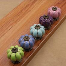 Colorful Ceramic 40mm Drawer Handles Pumpkin Knobs Cabinet Cupboard Handles Wardrobe Pull Handles Children Furniture Knob(China (Mainland))
