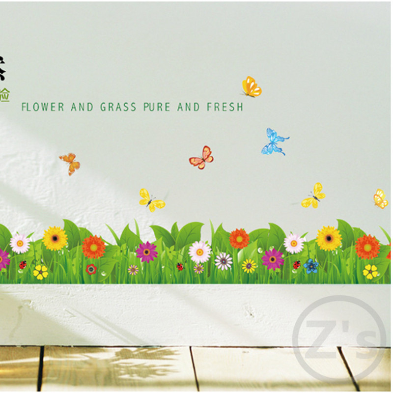 Grass flowers Butterfly on the wall sticker home decoration diy adhesives art mural posters removable vinyl wallpaper AY757(China (Mainland))