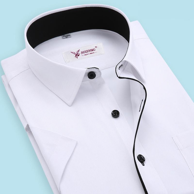2015 Brand Men Shirt Plus Size Chemise Homme Slim Fit Striped Business Formal Shirt Short Sleeve Mens Dress Shirts Chemise Homme(China (Mainland))