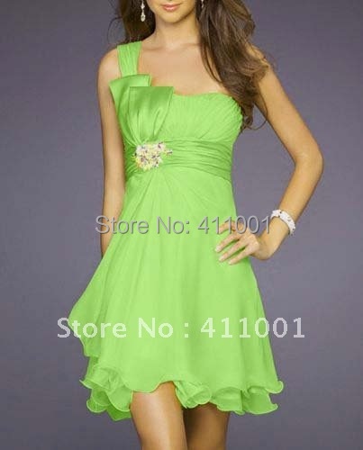 2014 Free Shipping Lime Green One-shoulder Short Bowed Party Dress Cocktail Dress in Stock Ready to ship