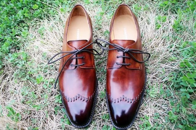 EMS free shipping to avoid the customs duty Goodyear welt handmade genuine calf leather men's derby brown/dark toe shoe No.D42(China (Mainland))