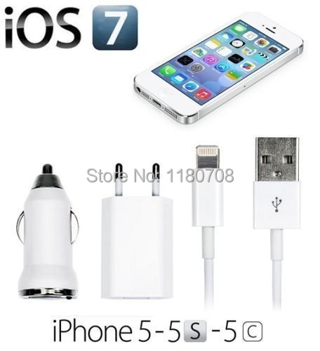 Mobile phone charger 8Pin Data Sync Cables + EU USB Wall +  Car Auto Chargers 5s 5 5c (Color White)(China (Mainland))