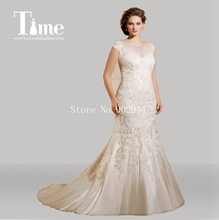 cap sleeves plus size wedding dresses 2015 sheer bateau neck beaded crystal lace 2015 bridal gowns button Vestidos De Noiva(China (Mainland))