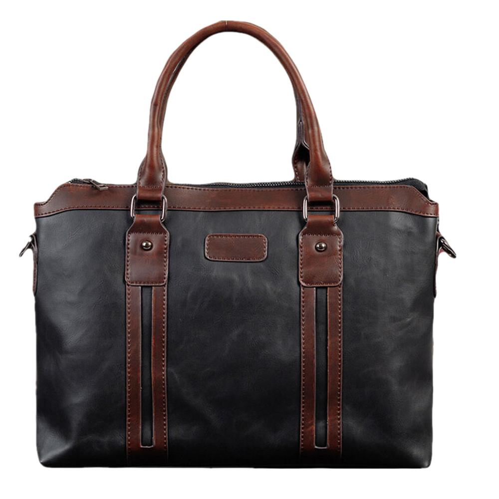 2016 Fashion Mens Business Briefcase PU Leather Totes Retro Handsome Mans Laptop Case Businessman Handbags Black Brown 30014<br><br>Aliexpress