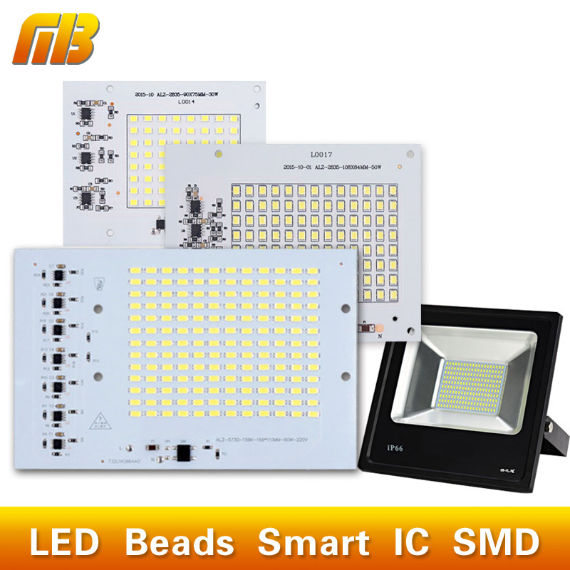 SMD LED Lamps Chip Bead Smart IC 220V 10W 20W 30W 50W 90W For Outdoor FloodLight Cold White/Warm White(China (Mainland))