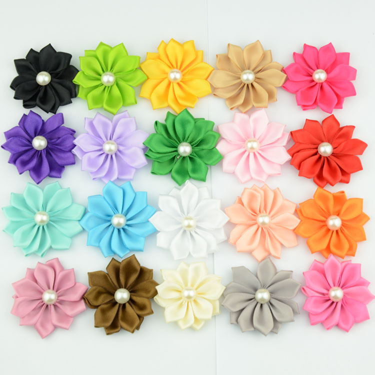 """500pcs/lot hotsell 2""""(5cm) satin ribbon flowers with pearl buttons center 20 colors DIY flower for girls hair accessory garments(China (Mainland))"""