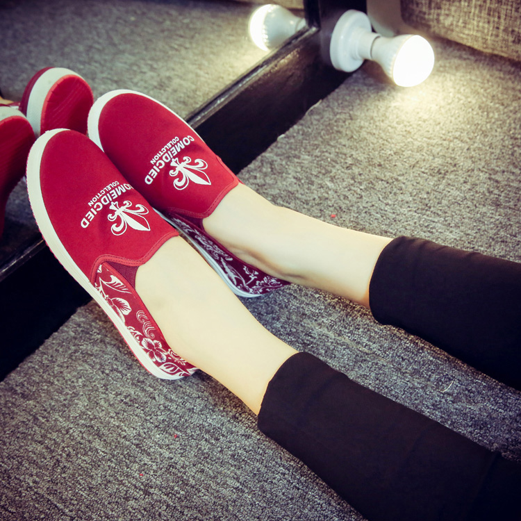 Lace Stitching Canvas Shoes Letter Print Loafers Women Large Size Cloth Shoes Leisure Low Flat Casual Plus Size Breathable Shoes