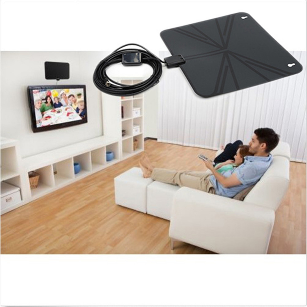 High Quality 50 miles Long receive distance TV HD Digital Indoor Amplifier Slim TV Antenna with Amplifier Range/Zoom Function(China (Mainland))