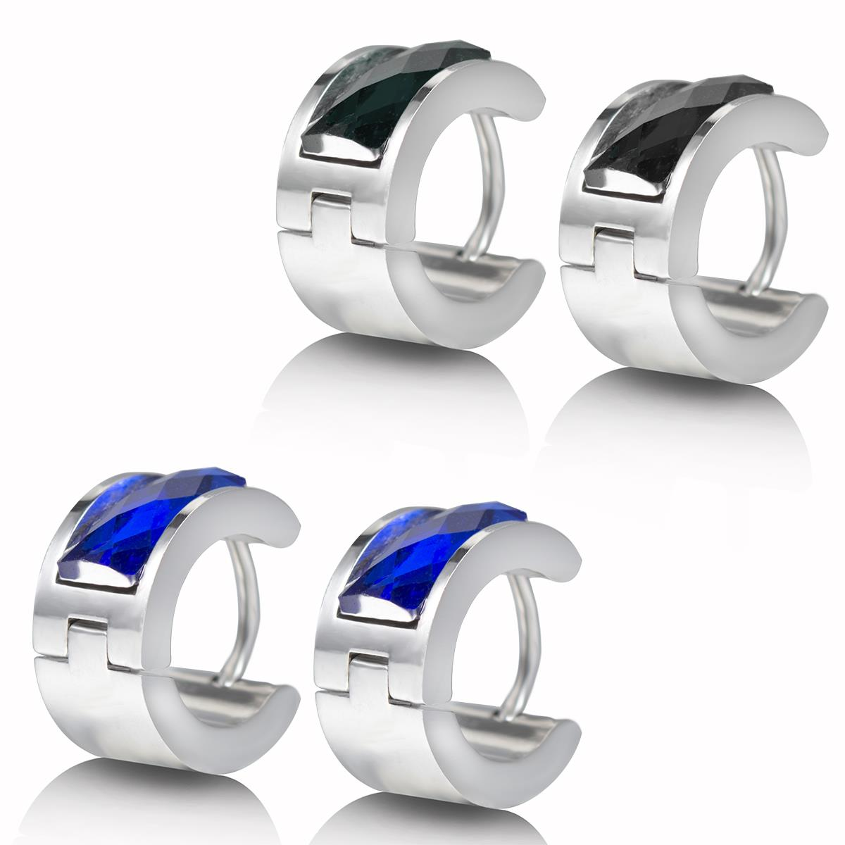 New Small Huggie Hoop Earrings For Men In Stainless Steel, Blue Silver  Colour, Boys