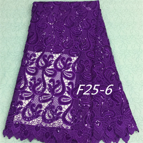 F25-6 Free Shipping top-selling 5yards african guipure lace sequins fabric accessories for fashion clothing purple(China (Mainland))