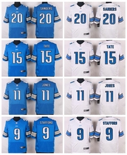Detroit Lions #20 Barry Sanders #15 Golden Tate III #11 Marvin Jones Jr #9 Matthew Stafford Elite White Light Blue Team Color(China (Mainland))