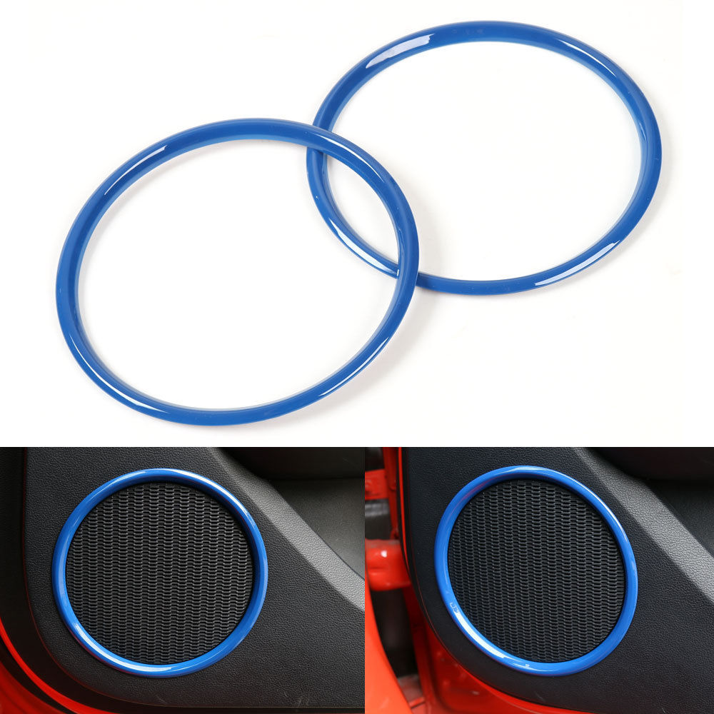 BBQ@FUKA 2x ABS Door Stereo Sound Speaker Loudspeake Cover Trim Blue/Red Fit For Ford Mustang 2015-16(China (Mainland))