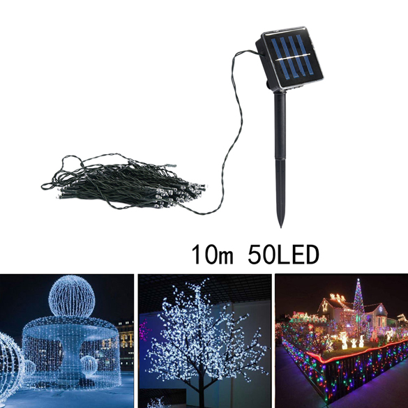 2016 Hot 10M 50 LEDs Solar Power Fairy Lights Holiday Lighting Xmas Holiday Party Outdoor Garden Tree Decoration String Lamp(China (Mainland))