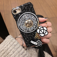 Buy high fashion bling Luxury Camellia glitter tassel cell phone Case apple iphone 6 6s plus 6P 5.5 iPhone7 7+ 7P PC hard cover for $6.92 in AliExpress store