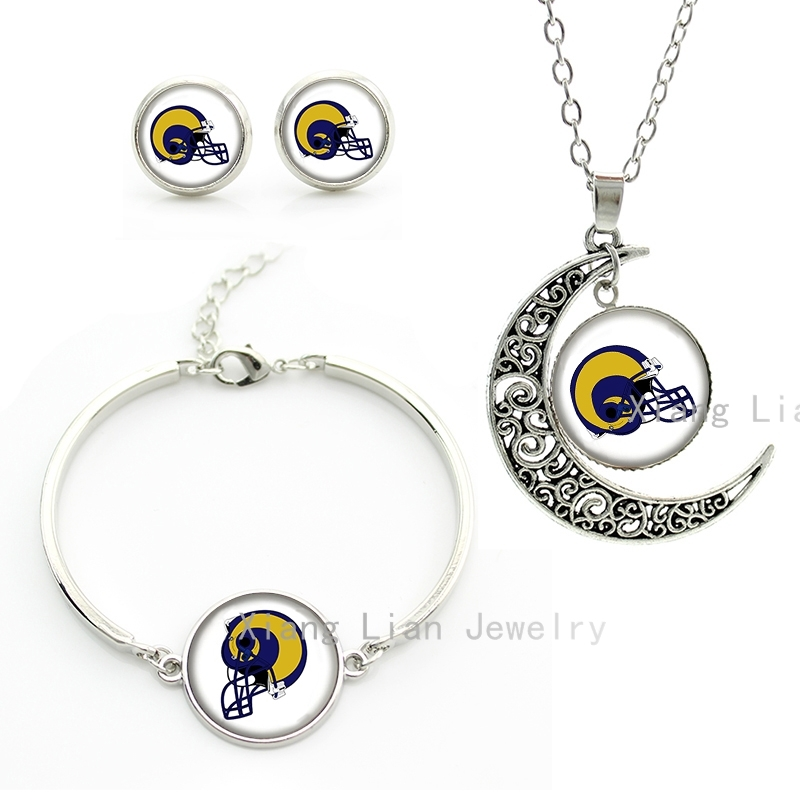 Newest NFL rugby St.Louis Rams team Helmet moon necklace earrings bracelet set silver plated american football jewelry set NF054(China (Mainland))