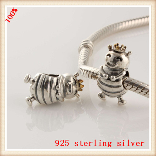 Подходит пандоры прелести браслет подлинный стерлингового серебра 925 оригинальный бусины би королева европейский шарм DIY ювелирных изделий
