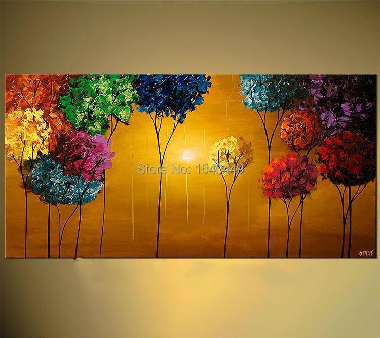 Hecho a mano colorido del rbol abstracto moderno pintura for Imagenes de cuadros abstractos modernos para sala