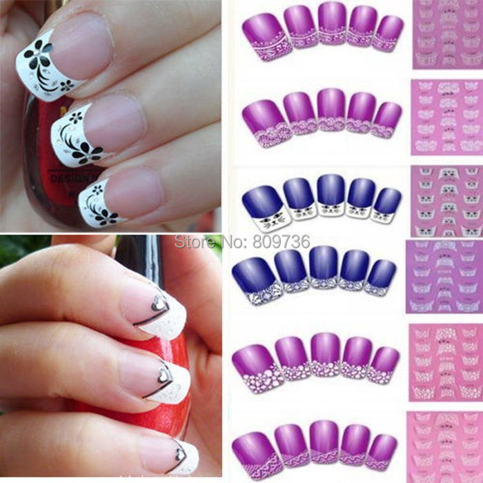 2sheets Hot 3D Transfer Lace Design Nail Art Stickers Manicure Nail Decals Tips Make Up Tools Gift Drop Free(China (Mainland))