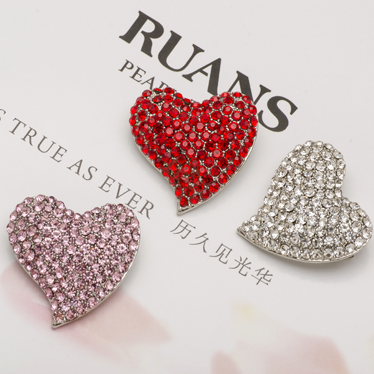 Small Pink Cristal Heart Brooch Pins Cheap Women Full Rhinestone Broach Beauty Red Crystal Brocehs Strass Mujer X0878(China (Mainland))