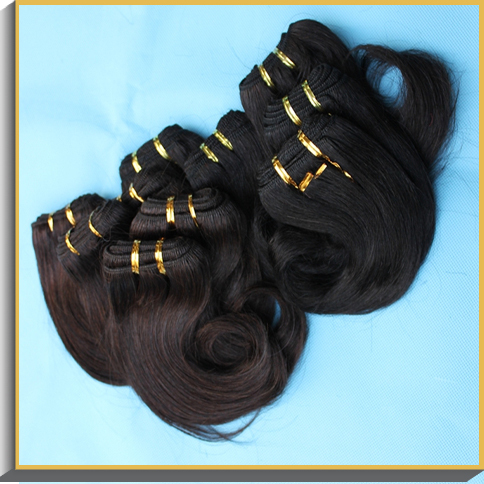 Cheap wholesale hair 100 bundles lot brazilian natural short hair cuts for wavy hair extension,black and brown 30gram/piece(China (Mainland))