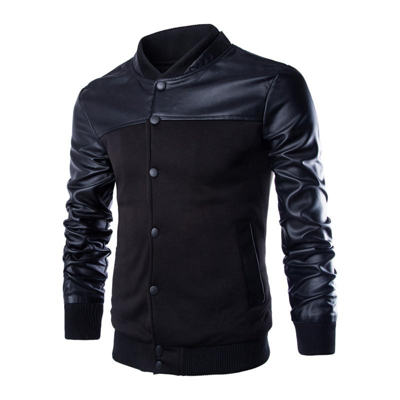 New Men 2015 Sweater PU Leather Shouder Sweater Personalized Baseball Stitching Clothes Man Jacket Men's Casual Jackets Coat(China (Mainland))