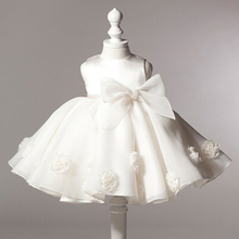 NEW vintage baby girl baptism dress bow kids baby 1 year birthday dress for girls toddler princess tutu dress for special events(China (Mainland))