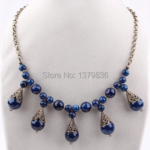 Vintage Style Blue Series Faceted Agate Pendant Necklace(China (Mainland))
