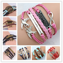 2015 New style fashion for the sweet dream with sport Pearl with the Cross Charm Bracelet Wax Cords Leather Bangle Jewelry Gifts