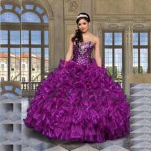 2015 New Sexy perles Jaket violet robes De Quinceanera robes De bal pour 15 Anos parti robes robe De 15 Anos en Stock QA511(China (Mainland))