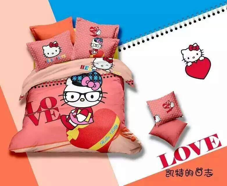 Good Quailty 100 cotton Kids Hello Kitty Cat Bedding Set Twin Full Bed Set Queen Quilt Cover Flat Sheet and Pillowcases(China (Mainland))