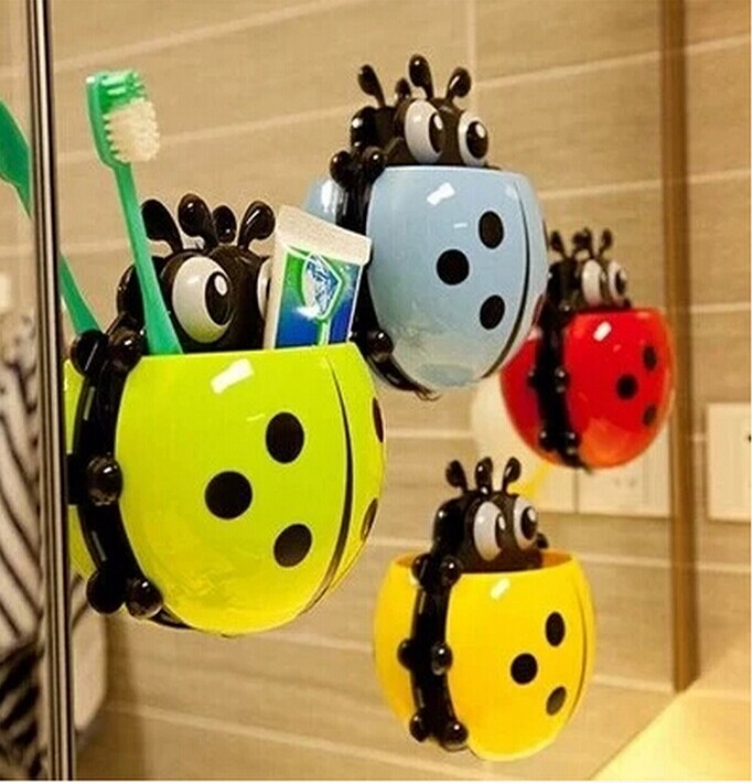 2015 Ladybug powerful suction toothbrush holder Storage Rack Practical household daily necessities of life 4 piece/lot pj03(China (Mainland))