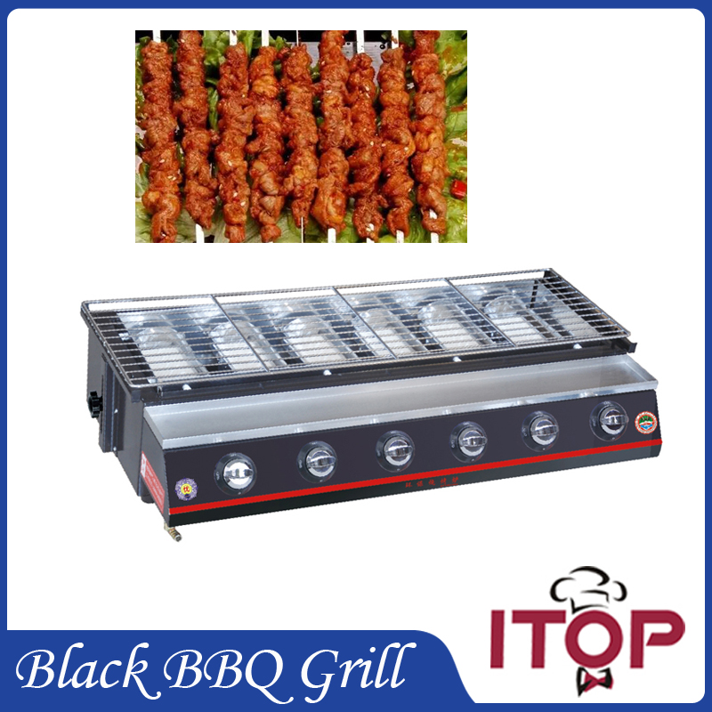 Stainless Steel 6 burners Gas BBQ Grill Barbecue Outdoor Picnic Baking Smokeless Garden Adjustable Height(China (Mainland))