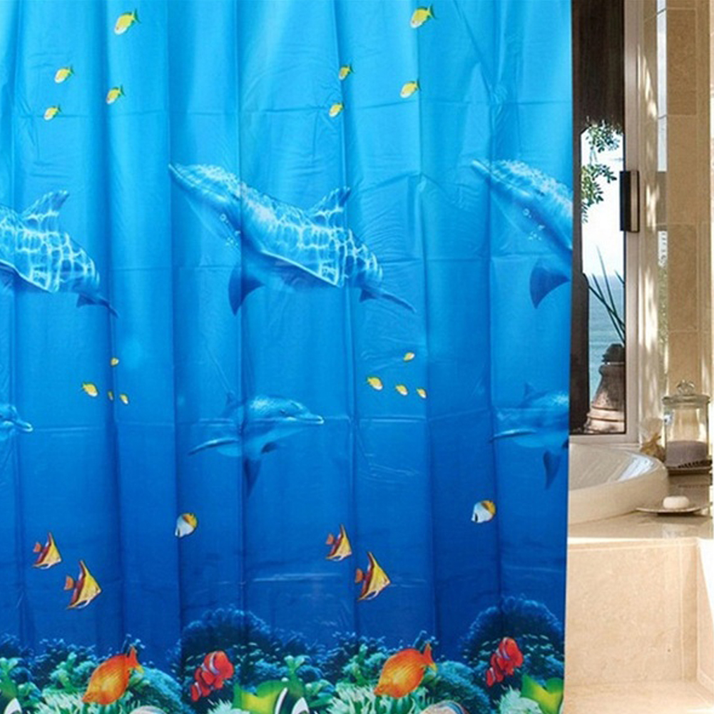 3D Dolphin sea fish PEVA Waterproof Shower Curtain Bathroom Products Bath Curtain cortina de bano with 12 Hooks 180*180cm(China (Mainland))