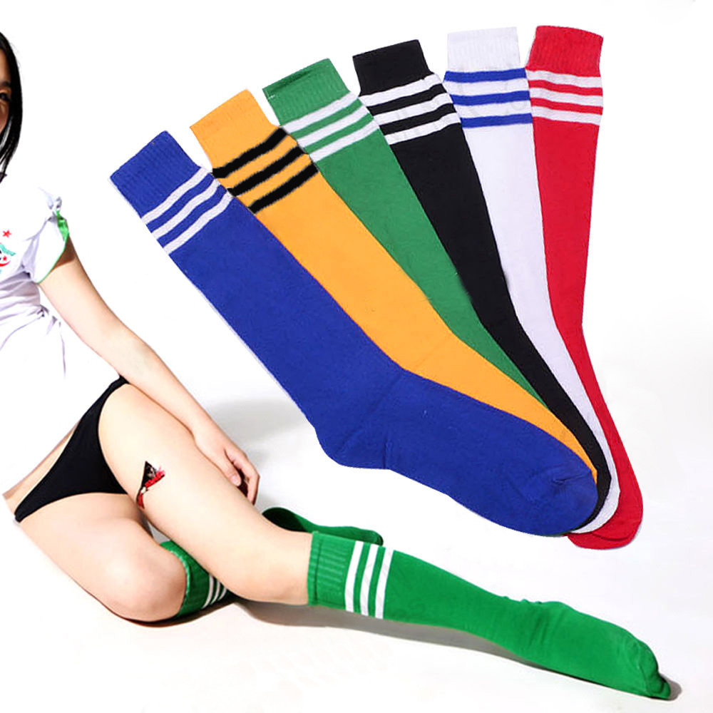1 Pair Girls Soccer Baseball Football Basketball Sport Over Knee Men Women Striped Socks Hot 8 Colors(China (Mainland))