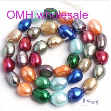 "OMH wholesale 36pcs Natural Freshwater Pearl Irregular Shape Loose Beads Strand 14"" Jewellery Making ZL675(China (Mainland))"