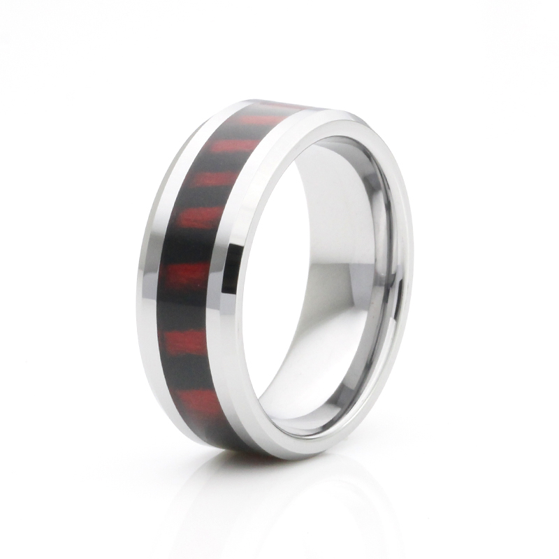 Colorful wood inlay tungsten ring nice wedding band for men wood ring(China (Mainland))